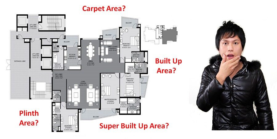 What is Carpet Area, Built Up Area, Plinth Area, Super Built Up Area?