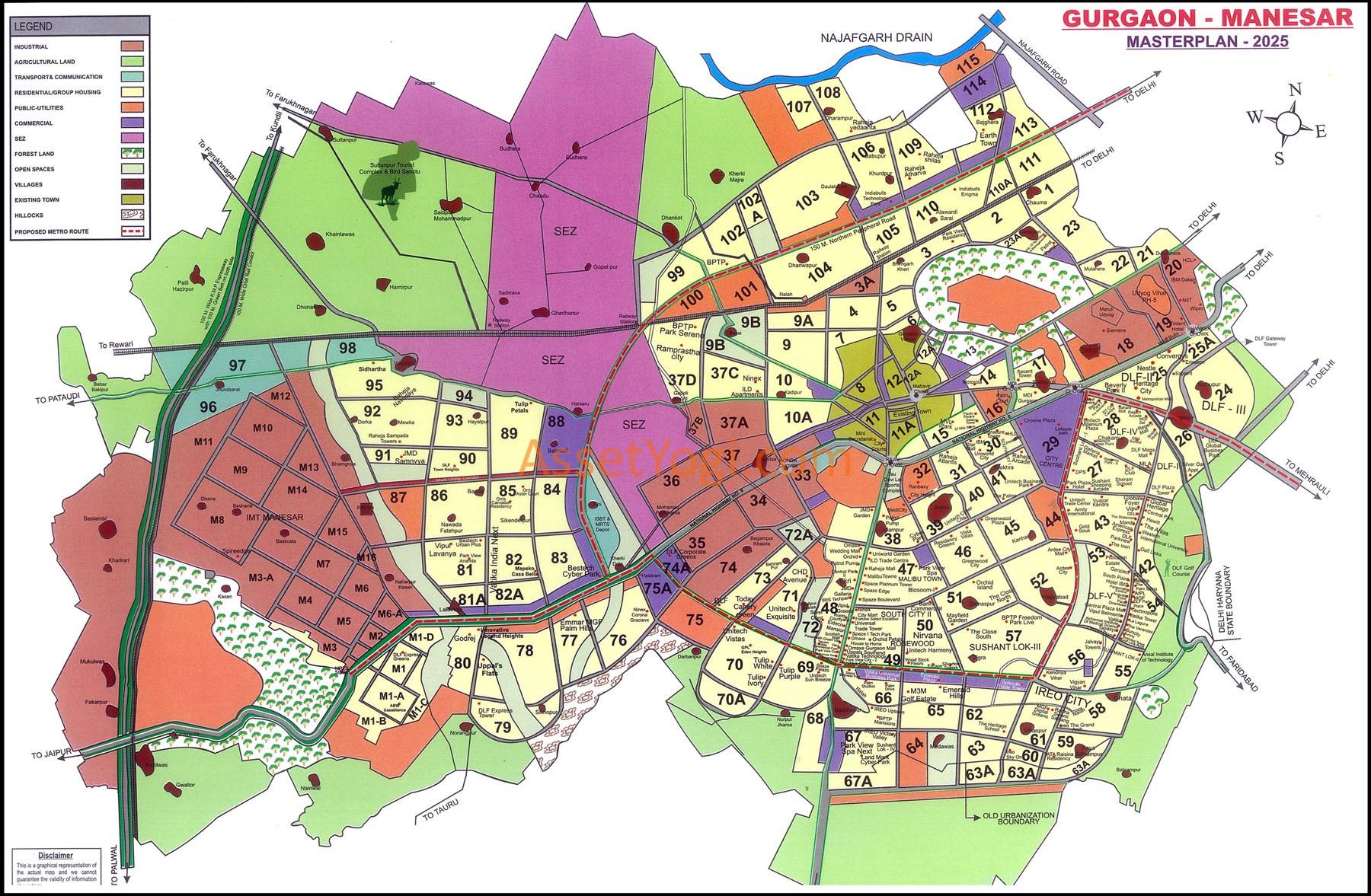 Gurgaon Master Plan 2031 2025 2022 Map Summary